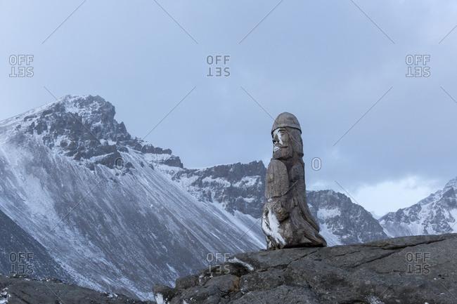 The Hrollaugur Rognvaldsson statue at Stokksnes, headland in the southeast, Iceland