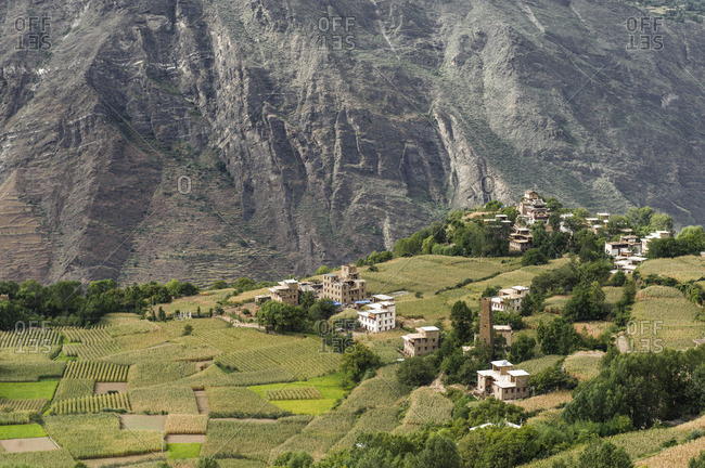 The village of Danpa in the fertile highlands of Kham, Tibet
