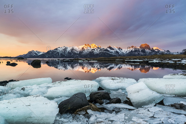 Eidsfjord and the Raeka mountain range at sunrise, Holmstad, Sortland, Vesteralen, Norway