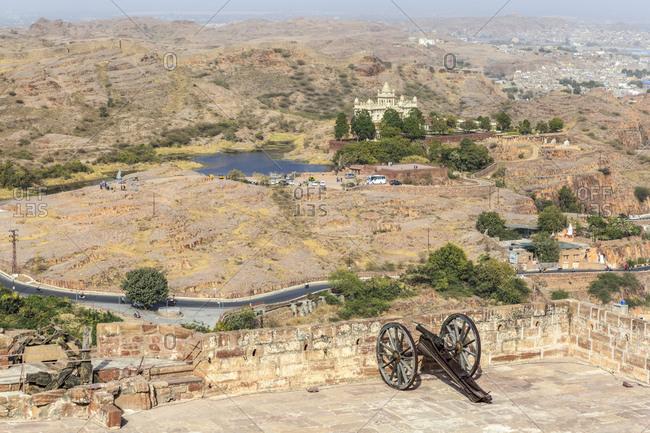 February 12, 2016: Mehrangarh Fort overlooking Jaswant Thada Cenotaph, Jodhpur, Rajasthan, India
