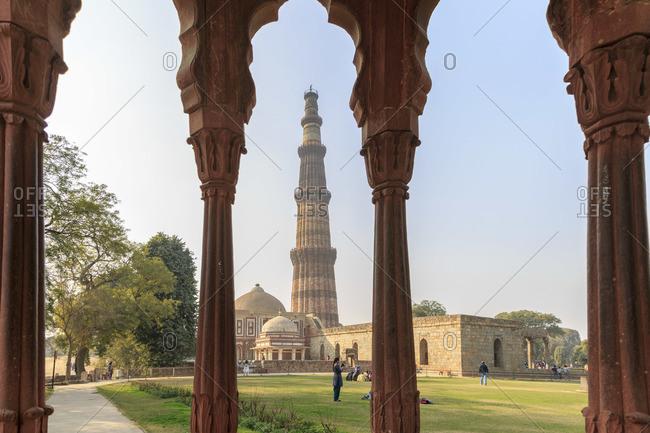 February 5, 2016: Victory column Qutub Minar and Qutub complex, Delhi, India