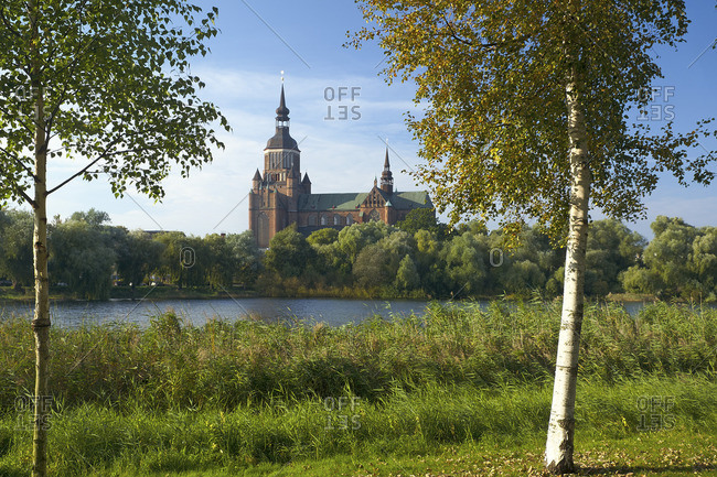 Frankenteich with a view of St. Marien Church, Stralsund, Mecklenburg-West Pomerania, Germany