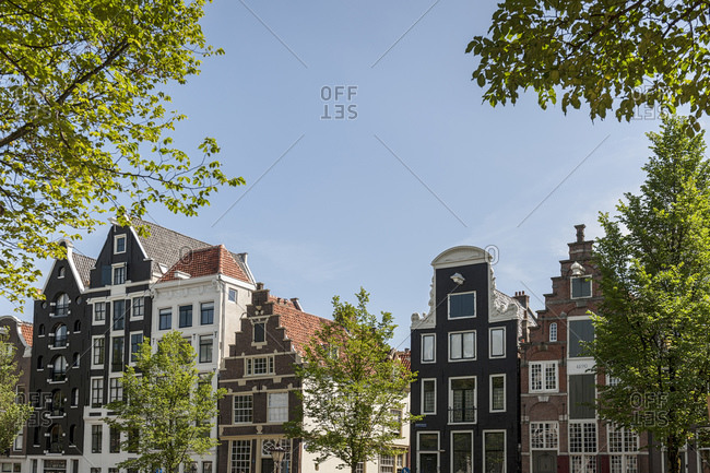 Historic gables and facades of the canal houses, old town, Amsterdam, Netherlands