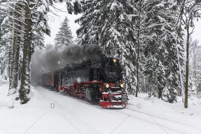 January 17, 2016: The Brockenbahn in the Harz National Park, Saxony-Anhalt, Germany