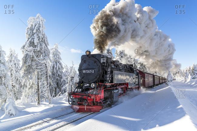 January 18, 2016: The Brockenbahn in the Harz National Park, Saxony-Anhalt, Germany