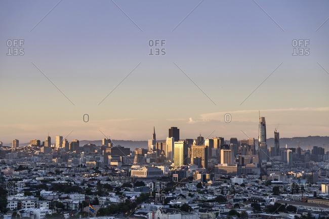 June 19, 2017: San Francisco skyline, Dolores Heights, San Francisco, California, USA