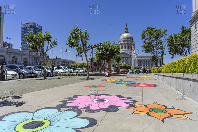June 20, 2017: Street art, City Hall, Downtown, San Francisco, California, USA