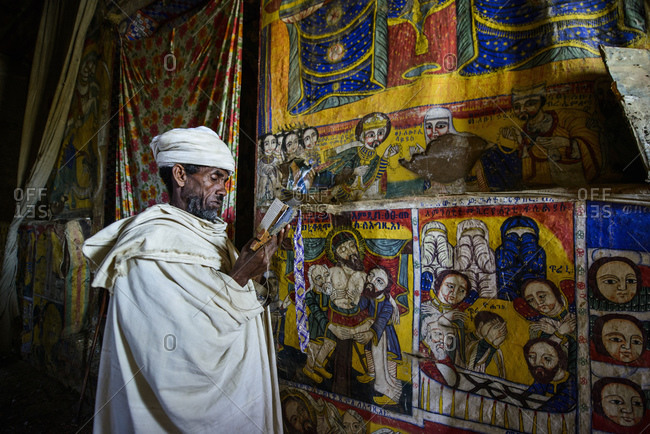 June 28, 2014: Ethiopian Orthodox Church priest reads the Bible, Tigray, Ethiopia
