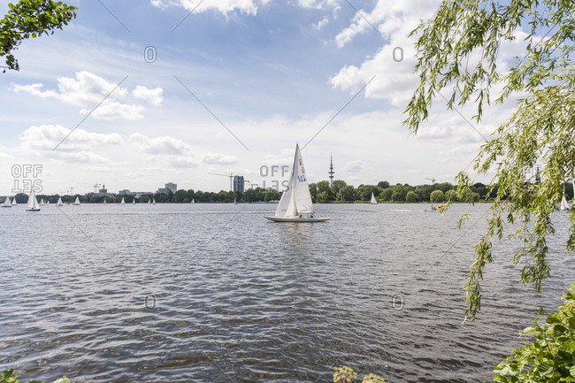June 28, 2015: Sailing on the Aussenalster, Hanseatic City of Hamburg, Germany