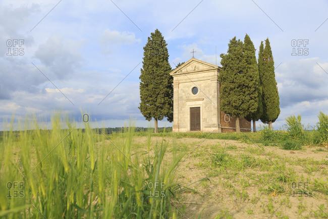 May 10, 2017: Cappella della Madonna di Vitaleta, Val d'Orcia, Tuscany, Italy