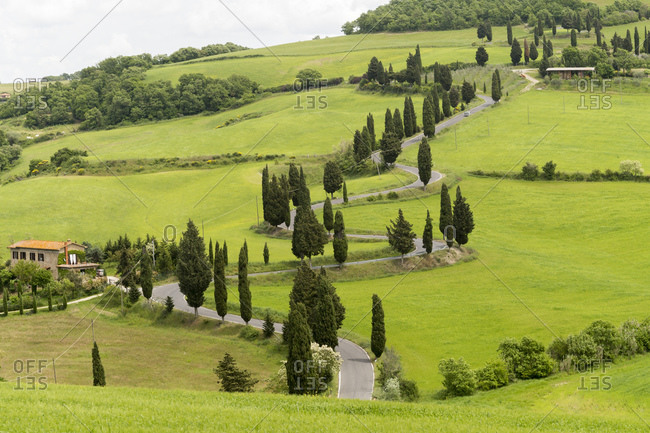 May 12, 2014: Monticchiello, the landscape of the Val d'Orcia, Tuscany, Italy