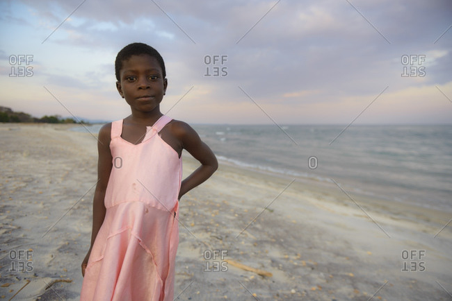 November 26, 2014: Girl on the shore of Lake Malawi, Malawi, Africa