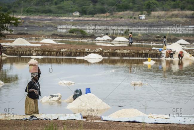 November 7, 2014: Salt extraction in a salt pan, Western Tanzania, Africa
