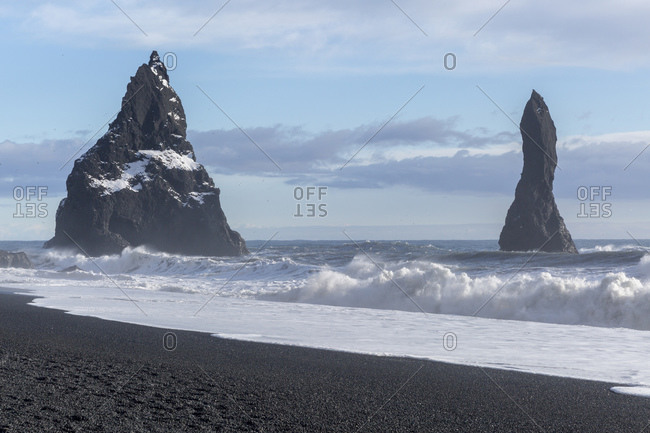 Reynisdrangar, black rock pinnacles off the coast of Vik i Myrdal, Iceland