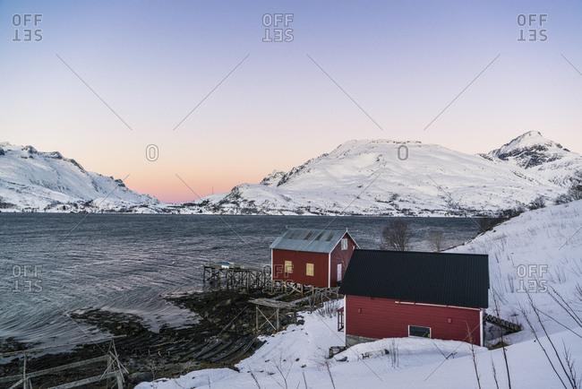 Sunrise in the Kaldfjord near Tromso on the island of Kvaloya, Norway