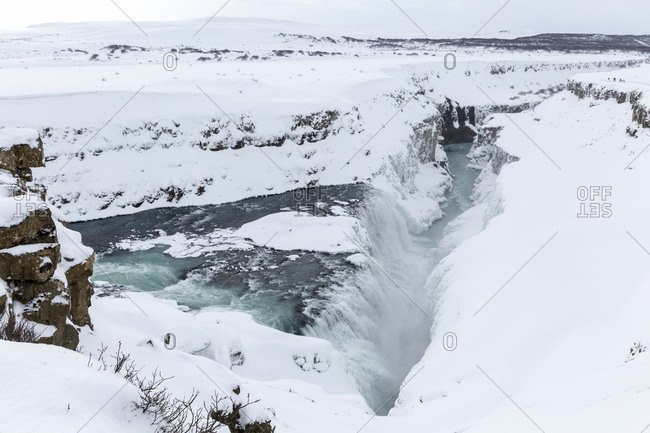 The Gullfoss waterfall on the Hvita River in Haukadalur in southern Iceland