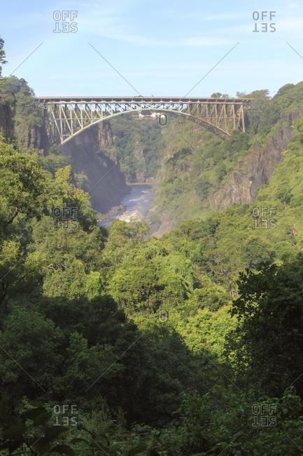 Victoria Falls Bridge below Victoria Falls, border between Zimbabwe and Zambia, Africa