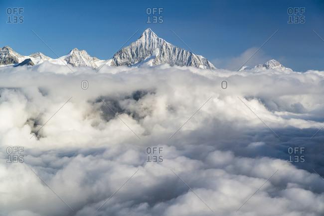 View from Gornergrat (3089m) at sunrise to the Valais Alps, Zermatt, Switzerland