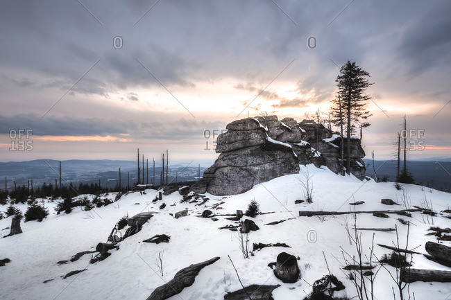 Winter landscape at the Dreisessel, Haidmuhle, Bavarian Forest, Lower Bavaria, Bavaria, Germany