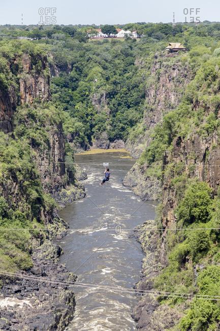Ziplining or zip-lining over the Zambezi, Victoria Falls, Victoria Falls, Zimbabwe, Africa