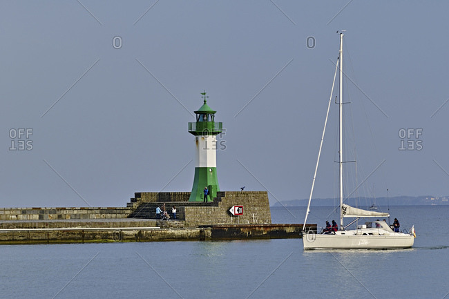 April 30, 2015: Lighthouse at the port in Sassnitz, Rugen, Mecklenburg-West Pomerania, Germany