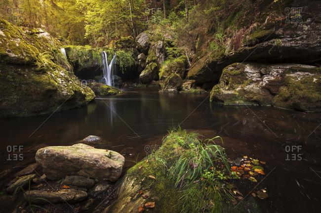 Autumn mood at the waterfall, Steinklamm, Spiegelau, Bavarian Forest National Park, Bavaria, Germany
