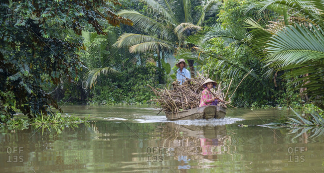 December 25, 2014: Transport boat in the Mekong Delta, Can Tho, Vietnam, Asia