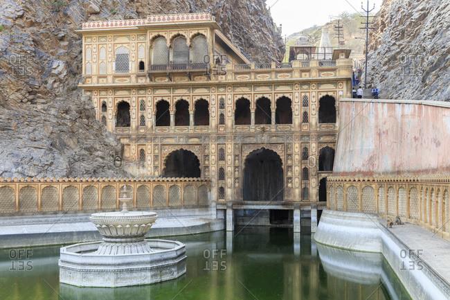February 14, 2016: Galtaji, Galta Ji, monkey temple complex, near Jaipur, Rajasthan, India