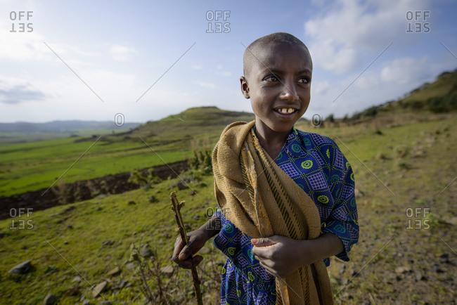 June 16, 2014: Ethiopian children work in the fields of the highlands, Ethiopia