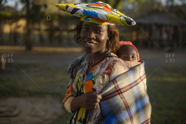 June 18, 2015: Mother and child from the Herero tribe, Kaokoland, Namibia, Africa