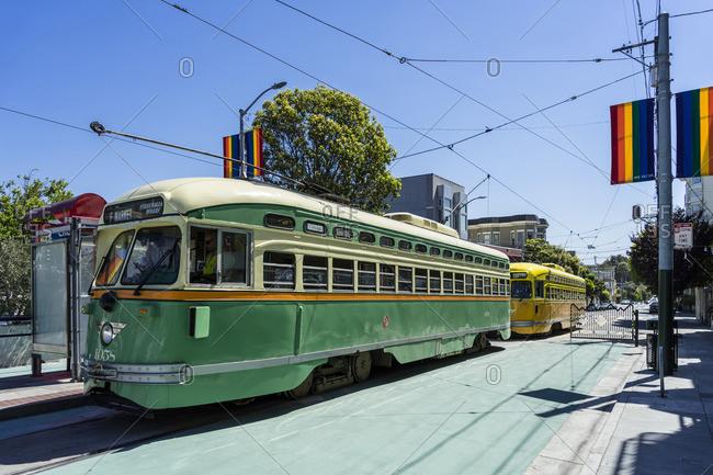 June 19, 2017: Historic TRAM, scene district The Castro, San Francisco, California, USA