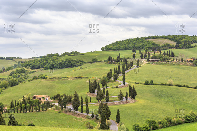 May 12, 2017: Monnticciello in the countryside of the Val d'Orcia, Tuscany, Italy