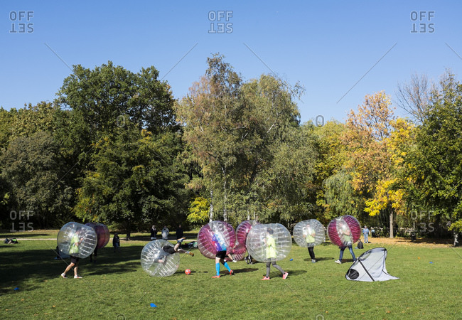 October 11, 2015: Bubble Soccer, Bubble Football at Volkspark am Friedrichshain, Berlin, Germany