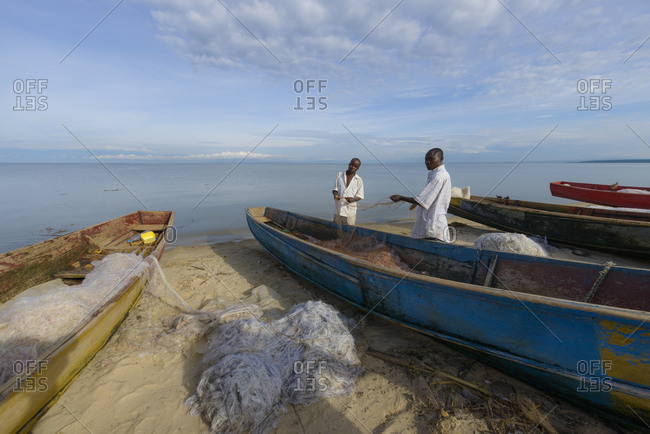 October 19, 2014: Fishing boats on the beach of Lake Edward, Uganda, Africa