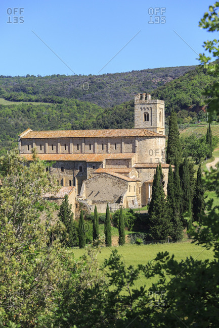 The SantniAntimo Abbey, Castelnuovo dell'Abate, part of Montalcino, Province of Siena, Tuscany, Italy