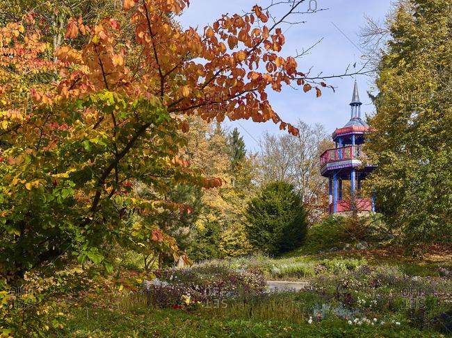 Thomashohe with Thomas Pavilion in Theresienstein Community Park, Hof, Upper Franconia, Bavaria, Germany