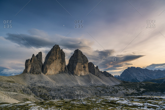 Three pinnacles at sunset, Three Peaks Nature Park, Sexten Dolomites, South Tyrol, Italy