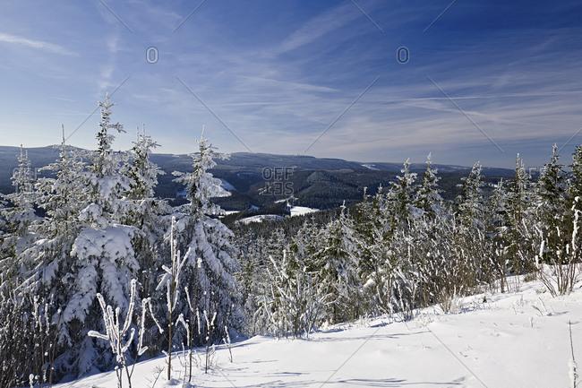 View from Kickelhahn near Ilmenau over the Thuringian Forest to Schneekopf, Thuringia, Germany
