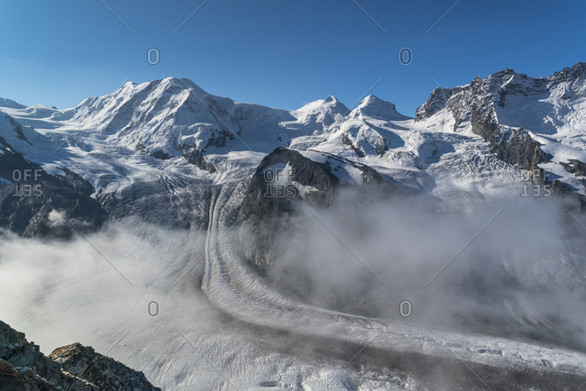 View of the Monte Rosa massif and the Gorner Glacier, Valais Alps, Switzerland