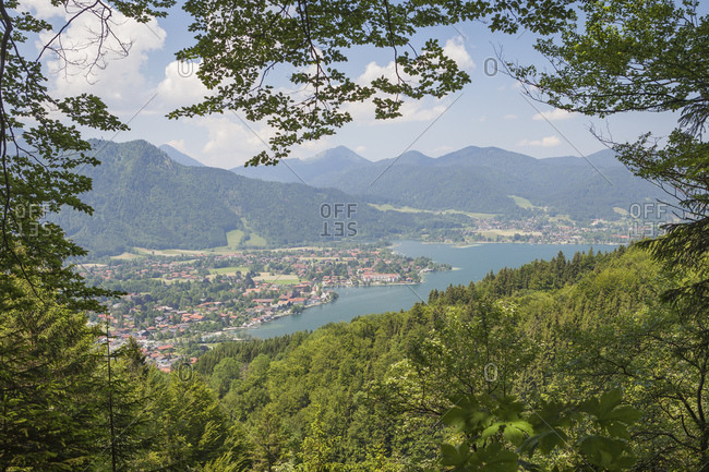 View of the Tegernsee and the village of Rottach Egern, Bavaria, Germany, Europe