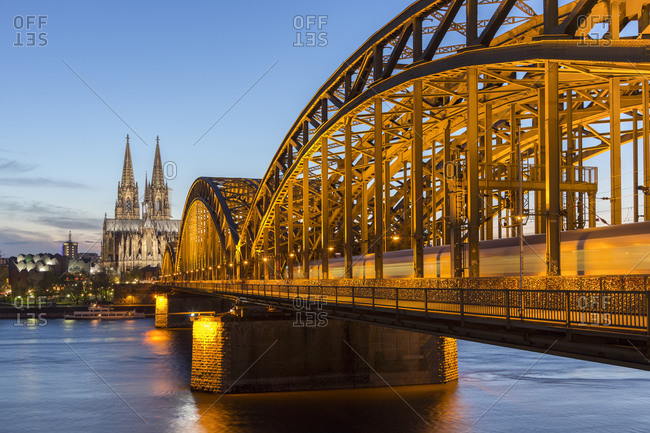 April 17, 2015: Cologne Cathedral and Hohenzollern Bridge, old town, Cologne, North Rhine-Westphalia, Germany
