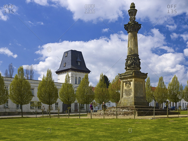 April 29, 2015: Market square with war memorial in Putbus, Ruegen, Mecklenburg-West Pomerania, Germany