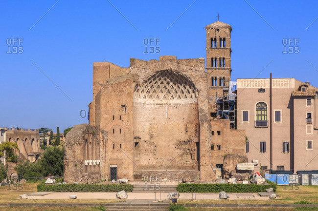 August 3, 2016: Temple of Venus and Roma, double temple in Rome, Lazio, Italy