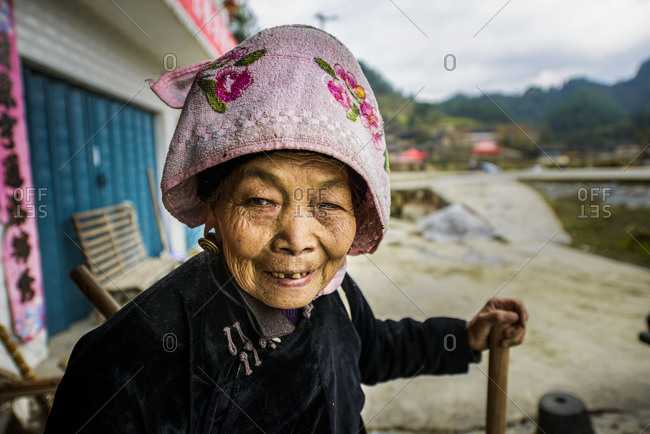 December 13, 2012: Old woman of the Miao ethnic minority in Guizhou province, China