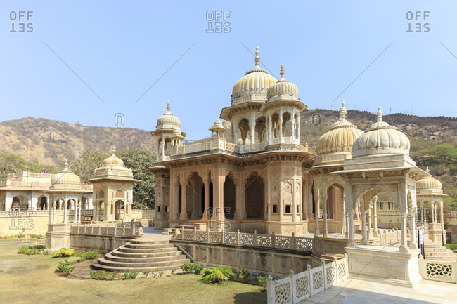 February 14, 2016: Gaitor, the burial grounds of the rulers of Jaipur, Rajasthan, India