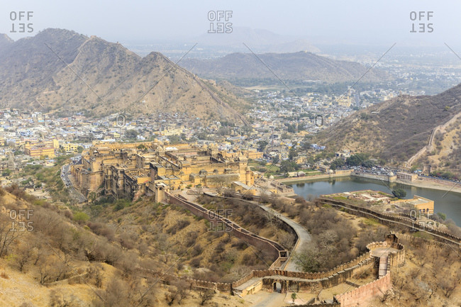 February 15, 2016: Amber Fortress, Amber Fort, view from Jaigarh Fort Jaipur, Rajasthan, India