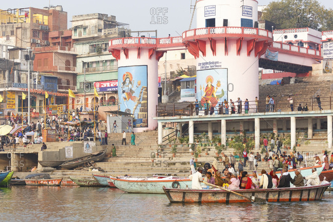 February 21, 2016: Pilgrims at the Ghats on the Ganges, Varanasi, Uttar Pradesh, India