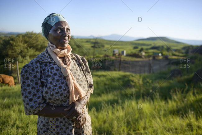 February 9, 2015: Elderly woman from the Zulu tribe, Kwazulu Natal Province, South Africa