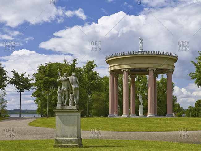 June 20, 2015: Lift temple in the castle park of Neustrelitz, Mecklenburg-West Pomerania, Germany