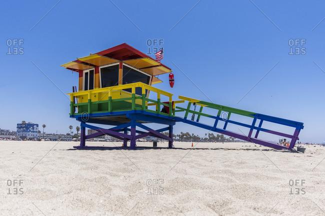 June 25, 2017: Lifeguard Tower in rainbow colors, Venice Beach, Los Angeles, California, USA